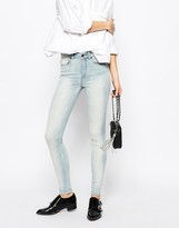 Dr. Denim Lexy 4 Pocket High Waist Skinny Jeans With Bleach Effect