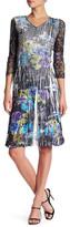Komarov 3/4 Length Sleeve Lace V-Neck Dress