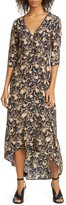 Zero Maria Cornejo Isie Floral Print Stretch Silk High/Low Midi Dress