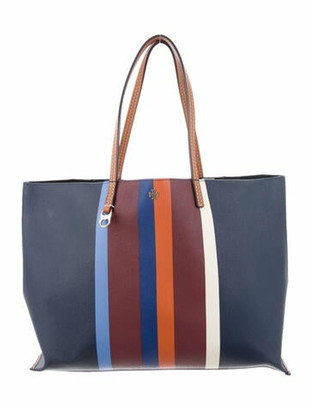 Tory Burch Striped Coated Canvas Tote Blue
