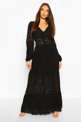 boohoo Crochet Insert Maxi Dress