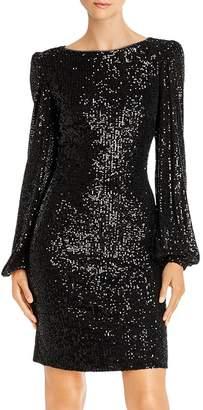 Aqua Long Sleeve Sequin Mini Dress - 100% Exclusive