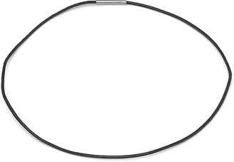 STEELTIME Men's Black Leather Necklace with Stainless Steel Clasp in 2 Colors