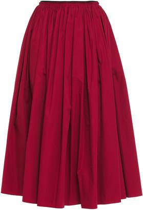 Marni Gathered Cotton-poplin Midi Skirt