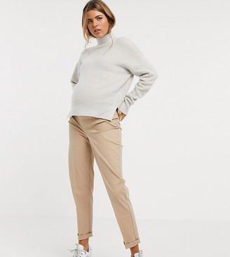 ASOS DESIGN Maternity chino trousers with under the bump waistband in stone