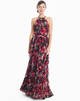 White House Black Market Mellie Sleeveless Printed Waterfall Gown