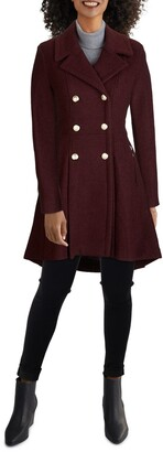 GUESS Wool Blend Skirted High Low Coat