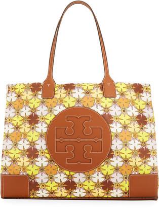 Tory Burch Ella Floral-Print Nylon Logo Tote Bag