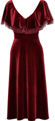 Mikael Aghal Point D'esprit-trimmed Ruffled Velvet Midi Dress