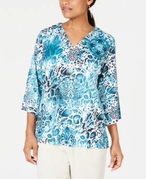JM Collection Petite Split-Neck Top, Created for Macy's
