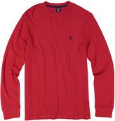 U.S. Polo Assn. Dark Red Waffle-Knit Long-Sleeve Tee