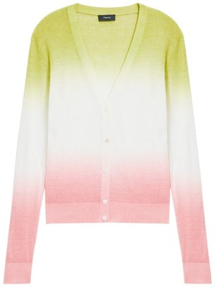 Theory Dual Ombre Linen-Blend Cardigan