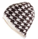 Black Brown and Ivory Houndstooth Cashmere Beanie