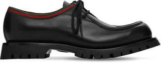 Gucci 30mm Web Jasper Leather Lace-up Shoes