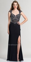 Dave and Johnny Beaded Illusion Cap Sleeve Evening Dress