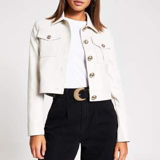 River Island Womens Beige faux leather cropped jacket
