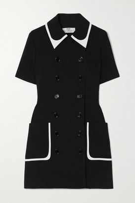 Fendi Double-breasted Two-tone Crepe Mini Dress - Black