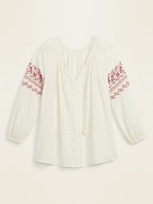 Old Navy Tie-Neck Embroidered-Sleeve Plus-Size Blouse