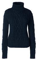 Lands' End Women's Drifter Cable Turtleneck Sweater-Emerald Jewel