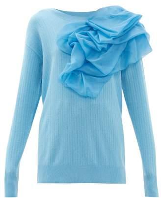 Sies Marjan Awa Silk Organza-rosette Wool-blend Sweater - Womens - Blue