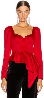 Self-Portrait Asymmetric Duchess Top in Red | FWRD