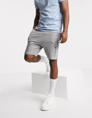 Jack and Jones Originals sweat shorts with script logo in grey