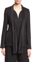 Escada Shimmery Satin-Tie Jacket, Black