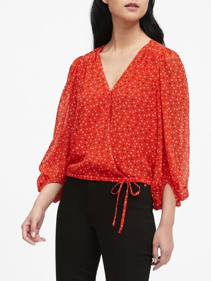 Banana Republic Puff-Sleeve Wrap Top