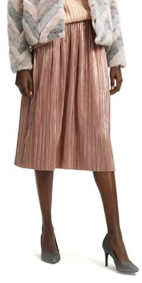 Scoop Women's Pleated Metallic Skirt