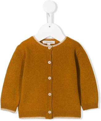 Caramel knitted button-front cardigan