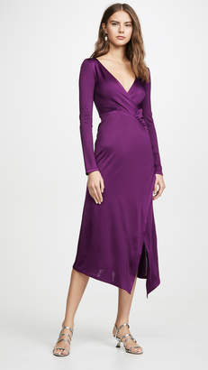Yigal Azrouel Long V Neck Dress with Cascade