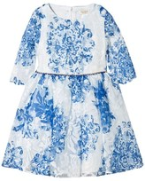 David Charles Blue and White Printed Tulle Dress with Jewelled Belt