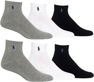 Polo Ralph Lauren Assorted 3-Pack Rib Cuff Quarter Socks