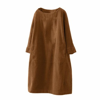 BESTOPER Women's Casual Tunic Dress Vintage Pockets Corduroy Plain Long Sleeve Loose Crew Neck Dress Brown