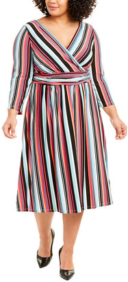 London Times Plus Ruched A-Line Dress