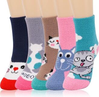 QKURT 5 Pairs Fluffy Socks for Women and Girls Winter Thermal Cozy Sleep Socks Super Warm Home Socks Coral Fleece Floor Socks Soft Fuzzy Bed Socks for Casual Home Sleeping
