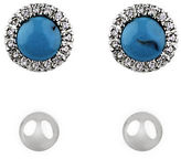 Lord & Taylor Turquoise and Faux Pearl Stud Set