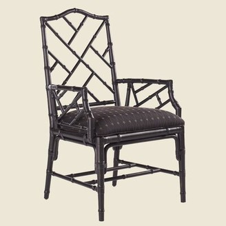 Tommy Bahama Home Island Estate Leather Upholstered Arm Chair (Set of 2 Color: Noche