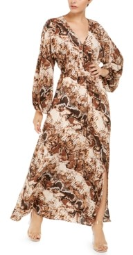 INC International Concepts Inc Printed Blouson-Sleeve Maxi Dress, Created for Macy's