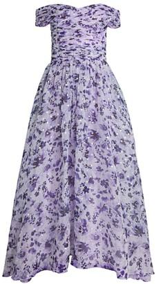 Shoshanna Meraki Off-The-Shoulder Silk-Blend Dress