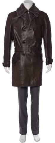 Bottega Veneta Fur-Trimmed Leather Trench Coat