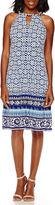 London Times London Style Collection Sleeveless Halter Border-Print Fit-and-Flare Dress