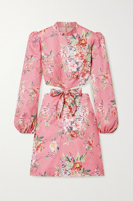Zimmermann Bellitude Cutout Floral-print Linen Mini Dress - Baby pink