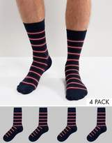 Jack and Jones Socks 4 Pack With Stripe