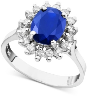 Effy Royalty Inspired by Sapphire (2 ct. t.w.) and Diamond (1/2 ct. t.w.) Oval Ring in 14k White Gold