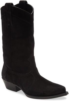 Saint Laurent Houston Suede Cowboy Boot
