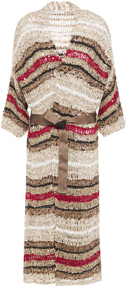 Brunello Cucinelli Sequin-embellished Striped Open-knit Cotton-blend Cardigan