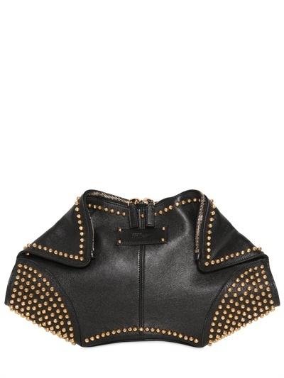 Alexander McQueen Gold Studs Leather Demanta Clutch