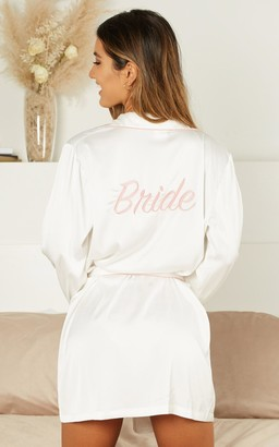 Showpo Ellena Bride Robe in white satin - 4 (XXS) Robes