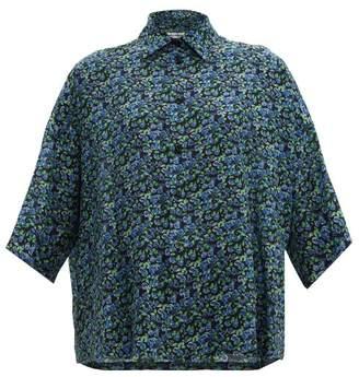 Balenciaga Floral-print Silk Shirt - Womens - Black Blue